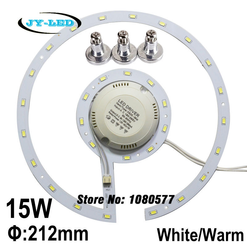 15w LED Ceiling Light Panel Board SMD 5730 LED Remould Plate Ring Disc Lights With Magnet Screw + Driver 20pcs 12w led light panel smd 5730 ic driver pcb input voltage ac110v 130v needn t driver aluminum plate free shippping