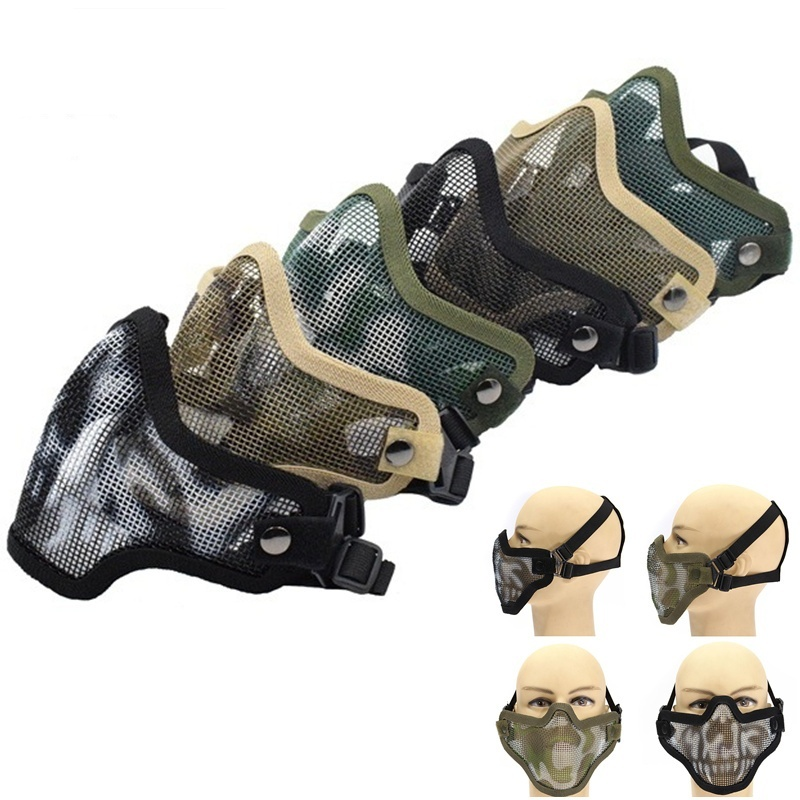 Tactical Hunting Paintball Airsoft Mask Strike Steel Metal Mesh Skull Lower Half Face Protective Mask