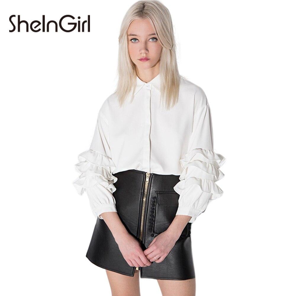 SheInGirl Sexy Camisa de La Blusa de Las Mujeres 2017 del Resorte gasa Blanca bl