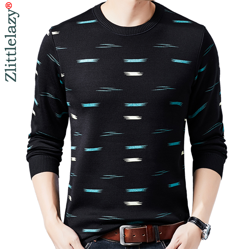 2019 Brand Casual Autumn Winter Warm Pullover Knitted Striped Male Sweater Men Dress Thick Mens Sweaters Jersey Clothing 41189
