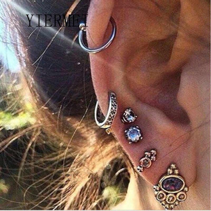YIERMEI New Fashion Bohemian Retro Summer New Small Earrings Temperament Punk Purple Rhinestone Ancient Tremella Clip Set