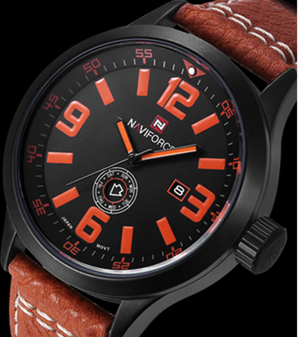 NAVIFORCE New Arrivals Excellent Men's Watch Sport Fashion and Casual Men Quartz Watches Leather Strap Military Army Male Clock naviforce new genuine leather watch men