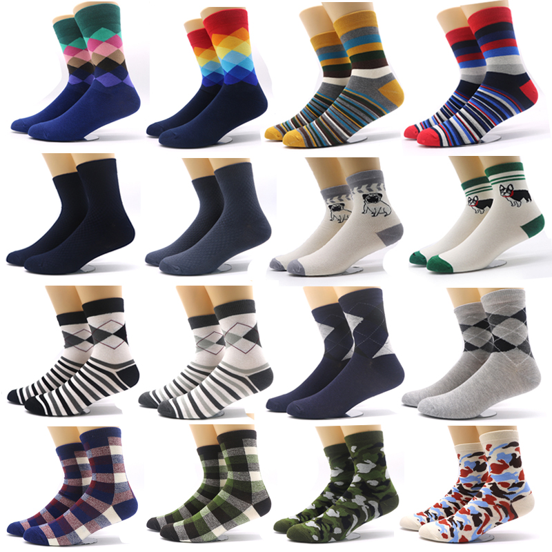 1 Pair Cotton Socks Men Colorful Striped Sock Funny Rhombus Pattern Winter Fashion Male Socks Compression Casual Warm Sock