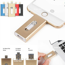 USB флешка 16 ГБ 32 ГБ 64 ГБ для iPhone 7 плюс 6 5 5S Lightning/металлическая ручка привода U диск для iOS10 memory stick 128 ГБ IOS9