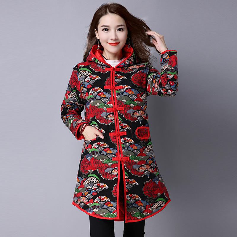 Woman National Style Big Size Print Long Coat Thick Cotton Hooded Long Outerwear Linen Maxi Winter