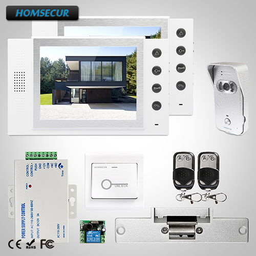 HOMSECUR 8 Video Door Entry Phone Call System Electric Strike Lock Set Included :TC021-S Camera(Silver)+TM801-W Monitor(White)HOMSECUR 8 Video Door Entry Phone Call System Electric Strike Lock Set Included :TC021-S Camera(Silver)+TM801-W Monitor(White)