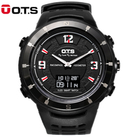 OTS Brand Men Sports Watches Dual Display Compass Wristwatches Waterproof Military Outdoor Watch