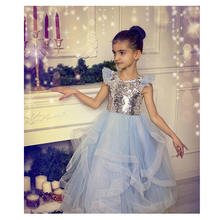 Sequined Tulle Girls Pageant Gowns Silver Cap Sleeve Light Blue Tutu Skirt Flower Girl Dresses For Wedding Baby Party Dress