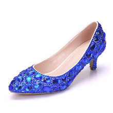 2019 New Arrival White Blue Gold Ladies Sexy Med High Heels Pumps Rhinestones Shoes For Party Wedding XY-A0299