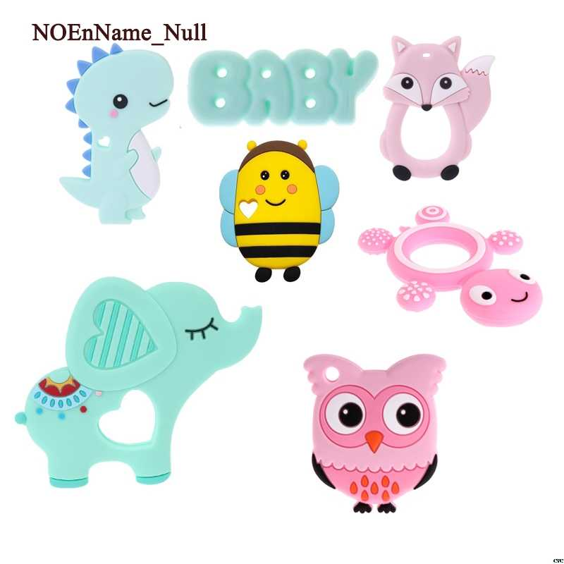 NoEnName_Null Baby Silicone Teethers BPA Free Teething Toy Animal Tortoise Fox Bee Elephant Baby Ring Teether Silicone DIY Chain