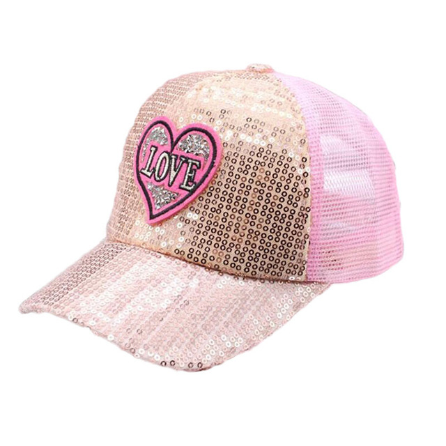 e1f9c6457dc5f BING YUAN HAO XUAN Boy Girl Fashion Adjustable Trendy Breathable Mesh  Sequined Shiny Baseball Caps Summer Sun Snapback Hat