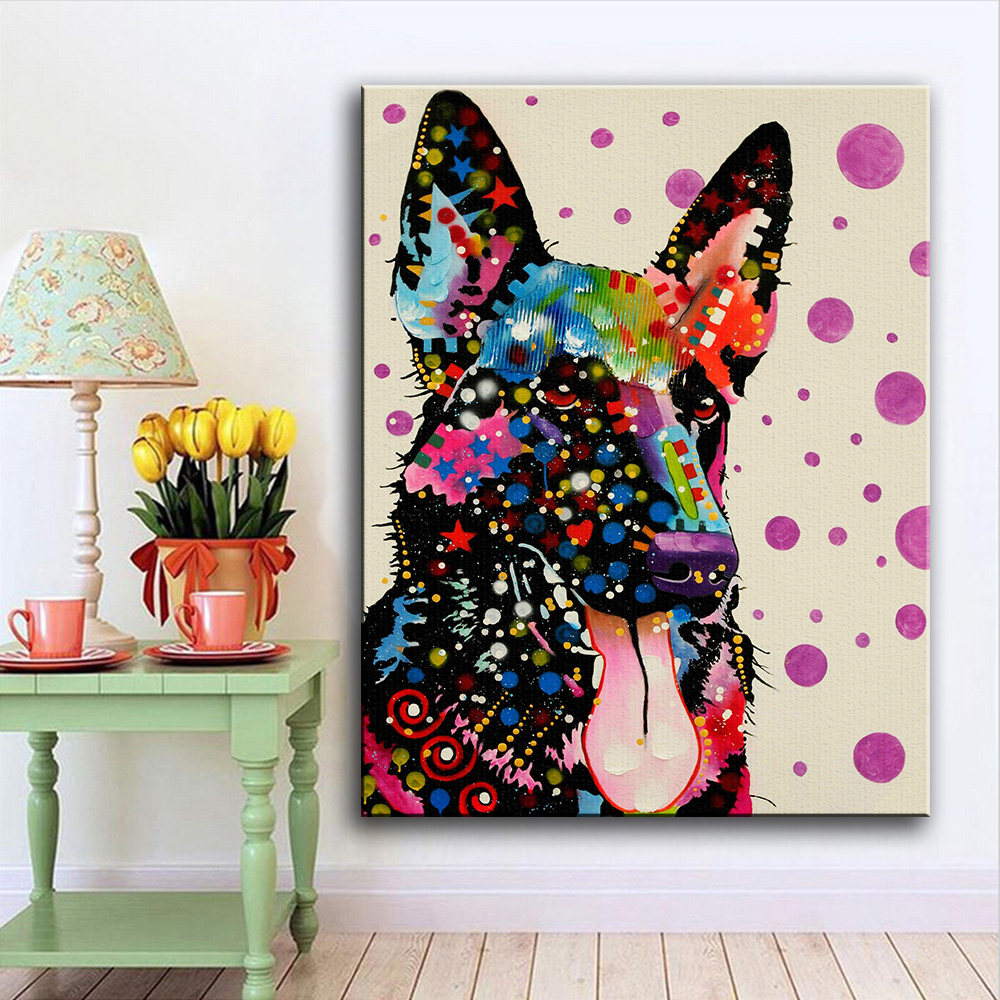 Large size malinois tongue pop art wall painting for home for Pop wall art