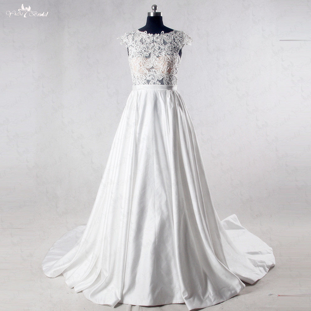 Rsw1020 see through lace corset satin wedding dress with for See through corset wedding dresses