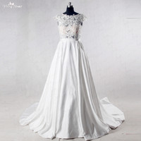 RSW1020 See Through Lace Corset Satin Wedding Dress With Pocket