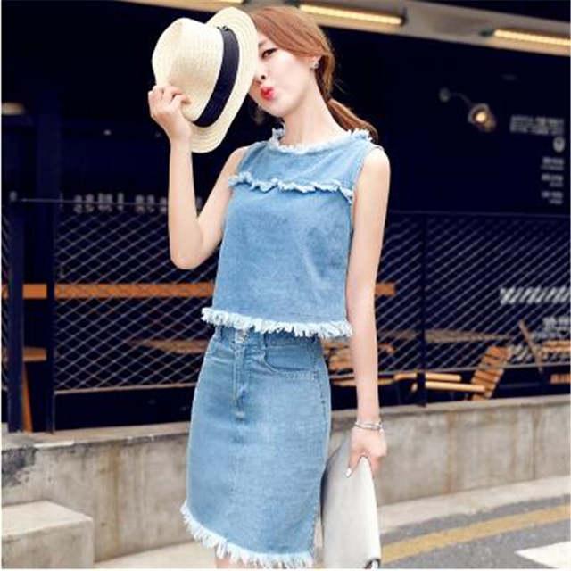 c2fc77bc1faf Online Shop TNLNZHYN 2019 Girls Womens Jeans Suits Fashion 2 Pcs Skirts  Suits Sleeveless Denim Skirts Set Hot Summer Suit 2 Piece Set Y129