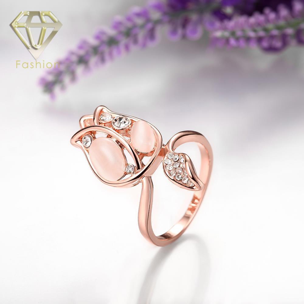 Promise Ring геометрический Дизайн с опалом и кубический цирконий золото/розового золота Цветные кольца Модные украшения для Для женщин