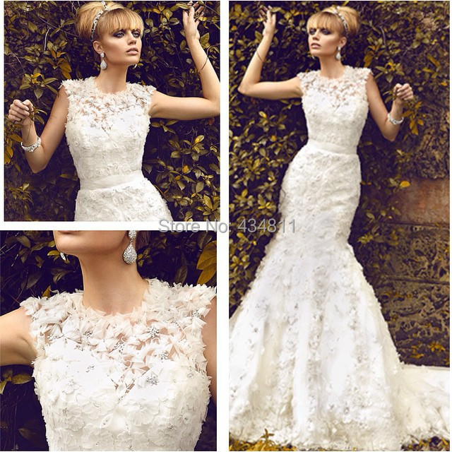 Vintage 1950s High Neck Lace Design Applique Wedding Dresses Satin ...