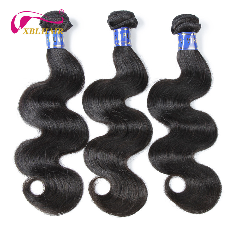 XBLHAIR Unprocessed Virgin Hair Bundles Peruvian Body Wave Human Hair Weaves 10-20 3pcs/lot Natural Color Free Shipping