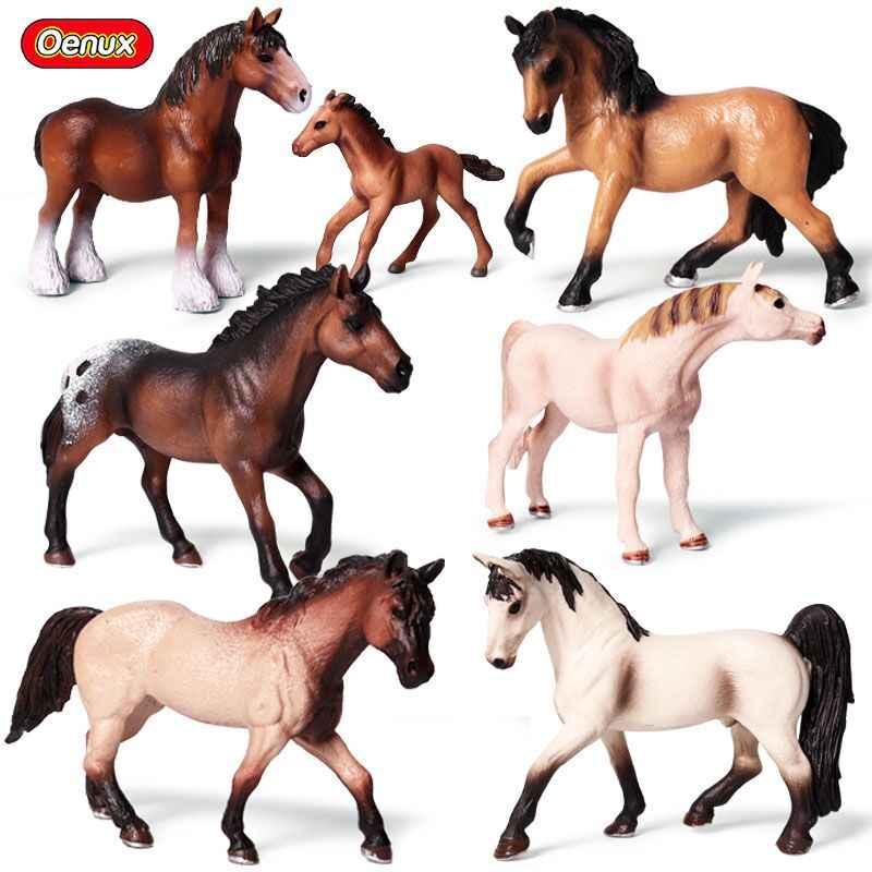 Oenux Original Genuine Forest Horse Wildlife Animal Steed Action Figures Model Classic American Quarter Horse Figurines Toy Gift