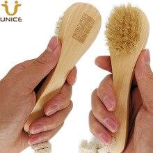 Купить с кэшбэком 50pcs/lot OEM Boar Bristle Facial Brushes Body Brush Customized LOGO Wooden Handle Facial Cleaning Brush for Shower