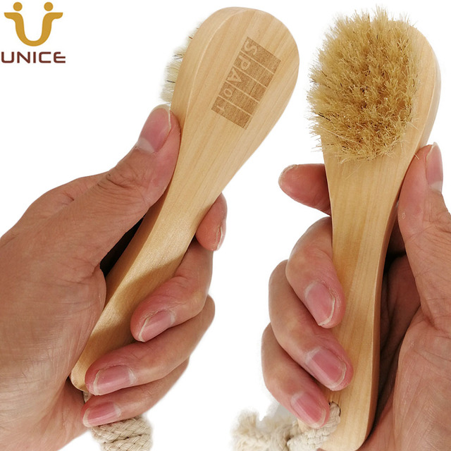 50pcs/lot OEM Boar Bristle Facial Brushes Body Brush Customized LOGO Wooden Handle Facial Cleaning Brush for Shower