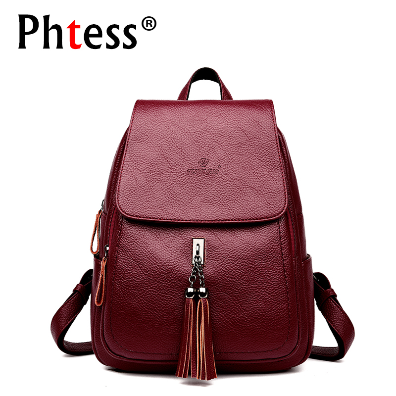 2018 Women Leather Backpacks Female Large Capacity Travel Backpack For Girls Tassel Ladies Rucksacks School Mochila Feminina New