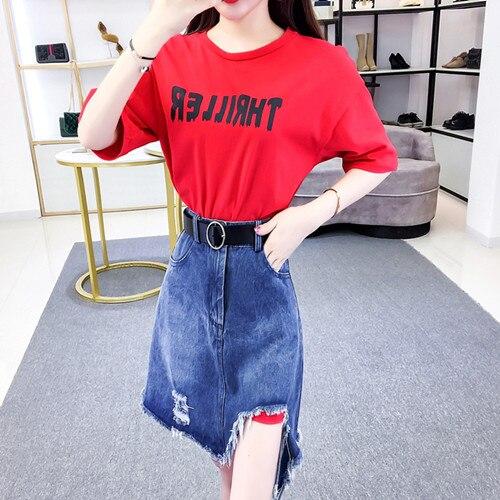 HAMALIEL/летний комплект из 2 предметов, модная женская красная свободная длинная футболка с буквенным принтом для девочек+ джинсы, облегающая юбка с кисточками - Цвет: Красный