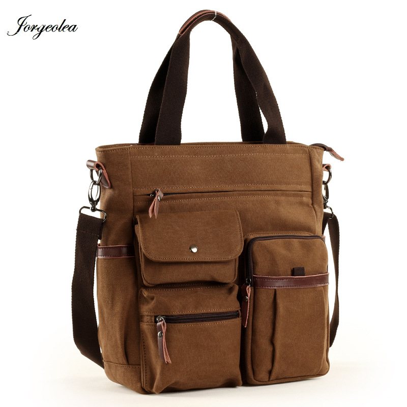 Jorgeolea Men Canvas Business Briefcase Versatile Casual Handbag For Men Travel Satchel E502