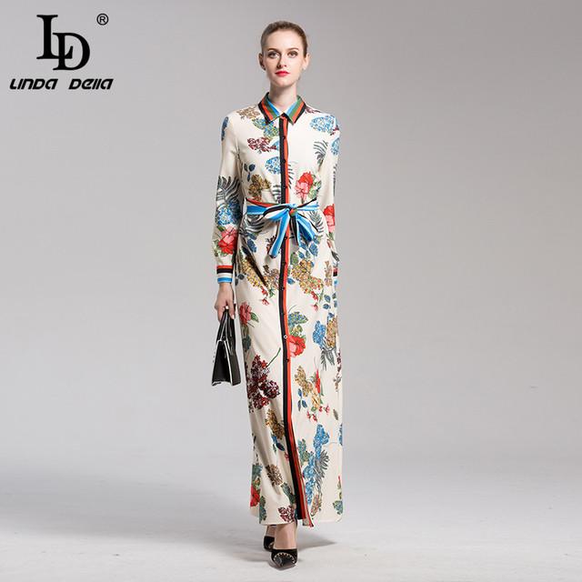Runway Boho Maxi Dress Long Sleeve Striped Floral Print Vintafe Shirt Long Dress