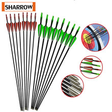 6 PCS 30inch Glassfiber Rubber feather Arrow Replaceable Arrowhead Length Recurve Bow Hunting Childrens Basic Training