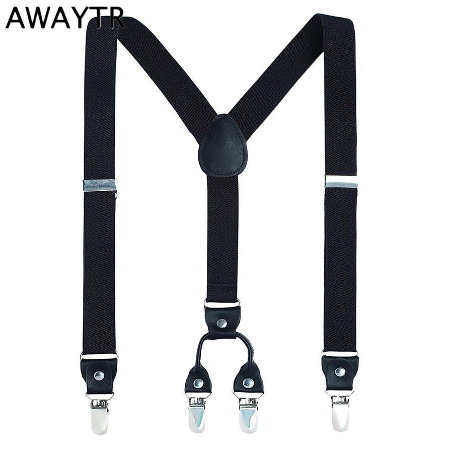 AWAYTR Y-Shape Braces Large Size Men Suspenders Leather Spandex Straps Women Men Suspensorio for Strapless Pants 110cm