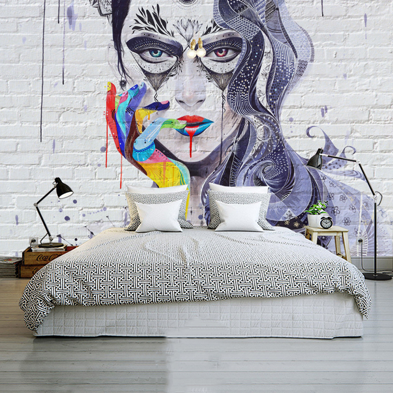 Custom Any Size Mural Wallpaper <font><b>3D</b></font> Colorful <font><b>Sexy</b></font> Beauty Brick <font><b>Wall</b></font> <font><b>Paper</b></font> Restaurant Cafe Bar Bedroom Background <font><b>3D</b></font> <font><b>Wall</b></font> Painting image