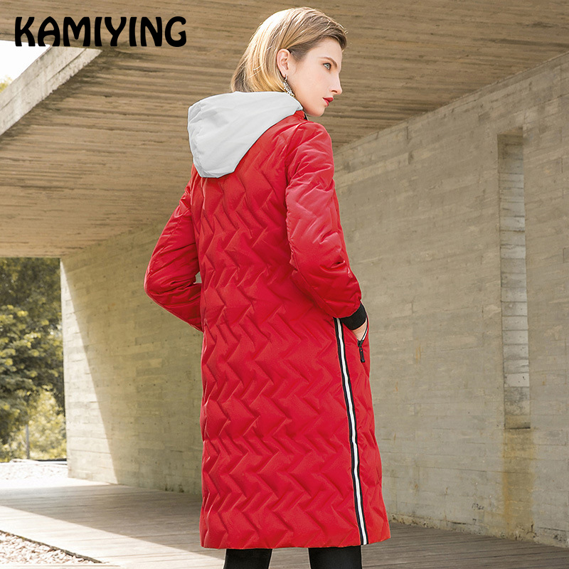 KAMIYING 2018 Winter New Style Fashionable Long Sleeves Ladies Hooded Pure Color Loose Temperament White Duck   Down     Coat   PKHC718