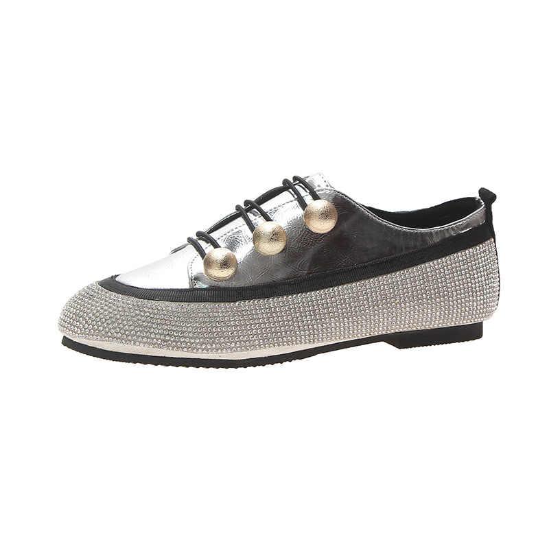 Zapatos planos de mujer 2019 primavera otoño Bling estilo zapatos mujer punta redonda moda encaje zapatos planos mujer calzado Casual