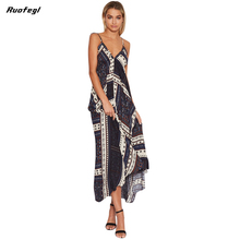 Ruofegl Long Beach Chiffon boho maxi dress 2017 Print Halter Women Summer Sexy Dresses Backless Vestidos Zaful strand jurken