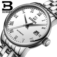 BINGER Fashion Luxury Women Watches Sapphire Automatic Mechanical Watch Woman Calendar Relogio Feminino reloj mujer clock