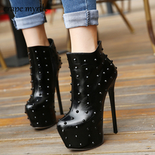 Купить с кэшбэком high heeled leather boots womens pumps snow boots sexy heels ankle boots for women boots femme high heels rivet pumps YMA503