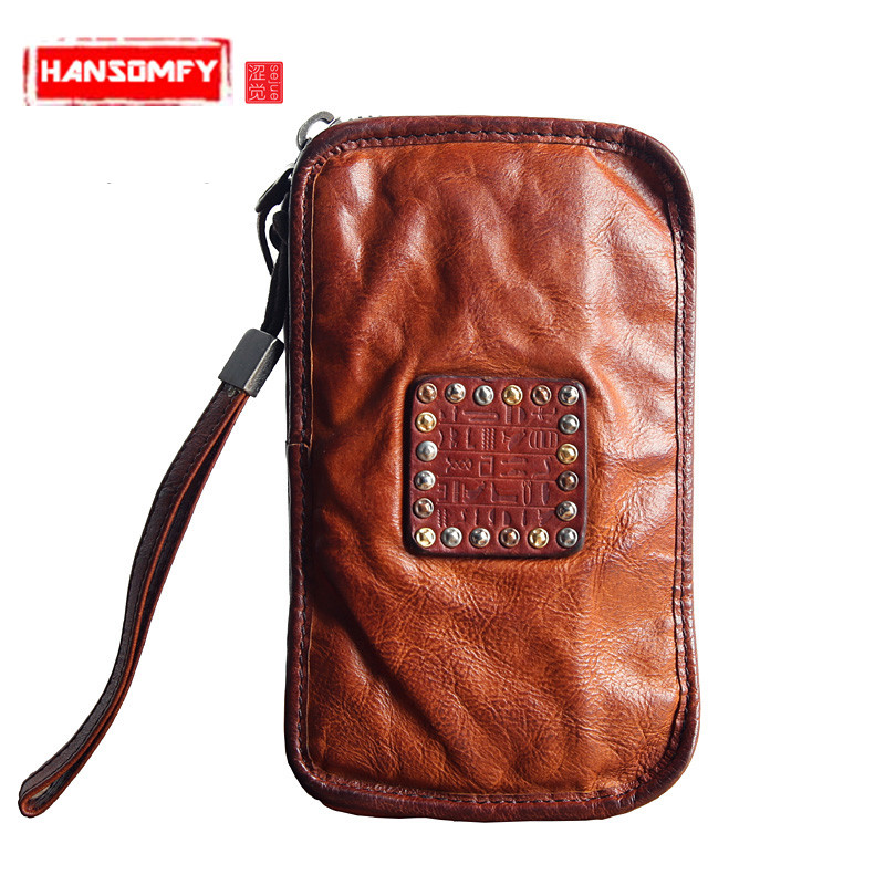 Men long wallet luxury brand first layer of leather Genuine leather zipper handbag large - capacity hand Vintage wallets Purse luxury genuine leather men wallets large capacity cowhide men clutch phone bag purse zipper vintage long wallet casual hand bags