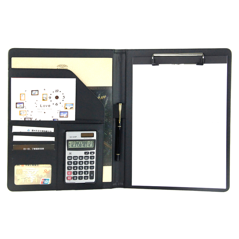 Business PU Leather A4 Manager Folder Manager Multi-Function Combination Conference Organizer Folder with 12-bit Calculator qshoic a4 multi function business manager clip to high grade leather with calculator folder file pu leather document folder