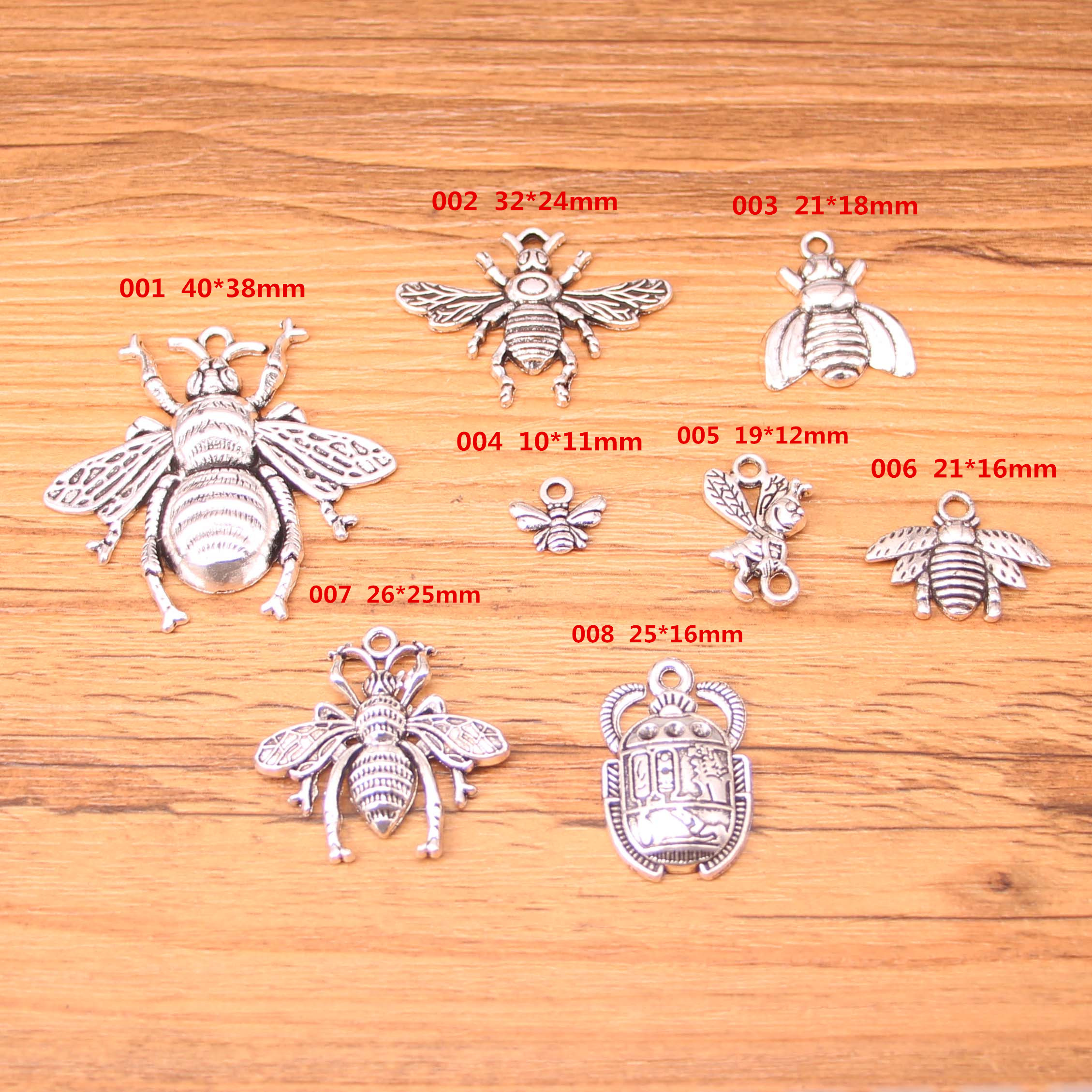 US $9 0 55% OFF|Mixed Antique Silver Charms bee bug insect hexapod bug  Antique Making pendant fit DIY bracelet necklace-in Charms from Jewelry &