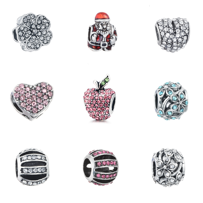 HOMOD Christmas And Spring Floating Charm Beads Wholesale Fit Pandora Charms Bracelets For Women DIY Jewelry Making