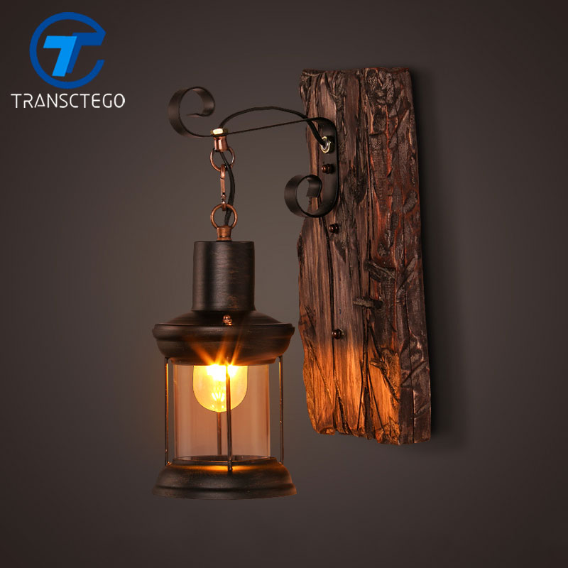 Retro wall lamp sconce loft american retro wood lantern for Nachttischlampe vintage