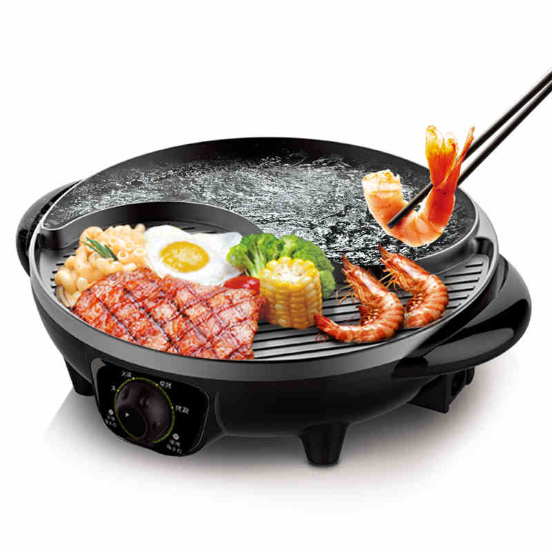 220V Multifunctional Electric Hot Pot Non-stick Barbecue Grill  Half Hot Pot Half Barbecue Grill Plate Multi Cooker 2 Flavor 220v 600w 1 2l portable multi cooker mini electric hot pot stainless steel inner electric cooker with steam lattice for students