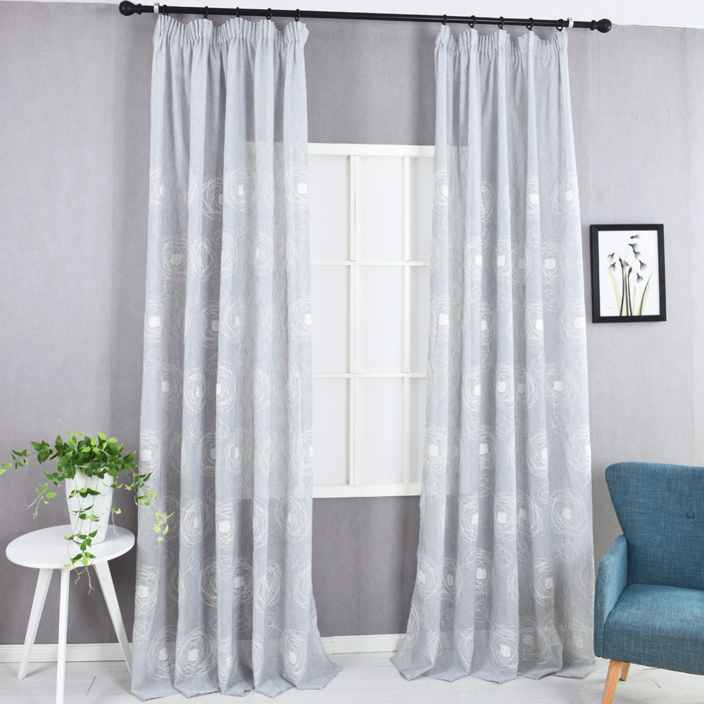Kitchen Door Curtains Us 11 88 49 Off Modern Faux Linen Curtain Semi Sheer Fabrics Embroidered Kitchen Door Curtains Short Ready Made Floral Design Fancy Curtain In
