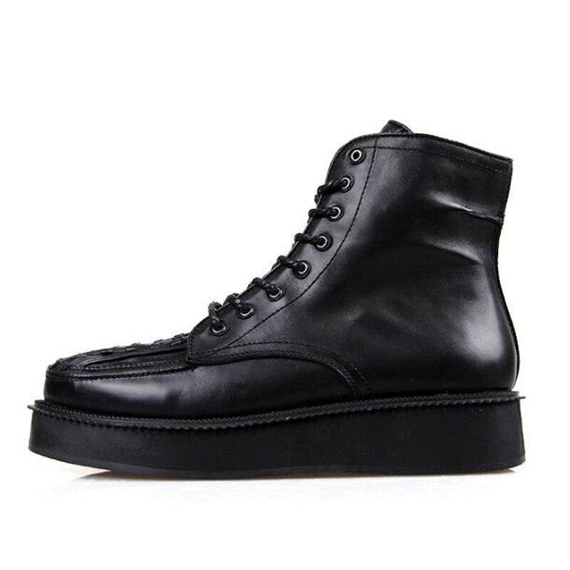 Stiefel up Luxus Schwarze Casual Turnschuhe weiß Männer Schuhe Trainer Wohnungen Kuh top Lace Leder High Ankle Schwarzes Frühling qxUx5w1HP