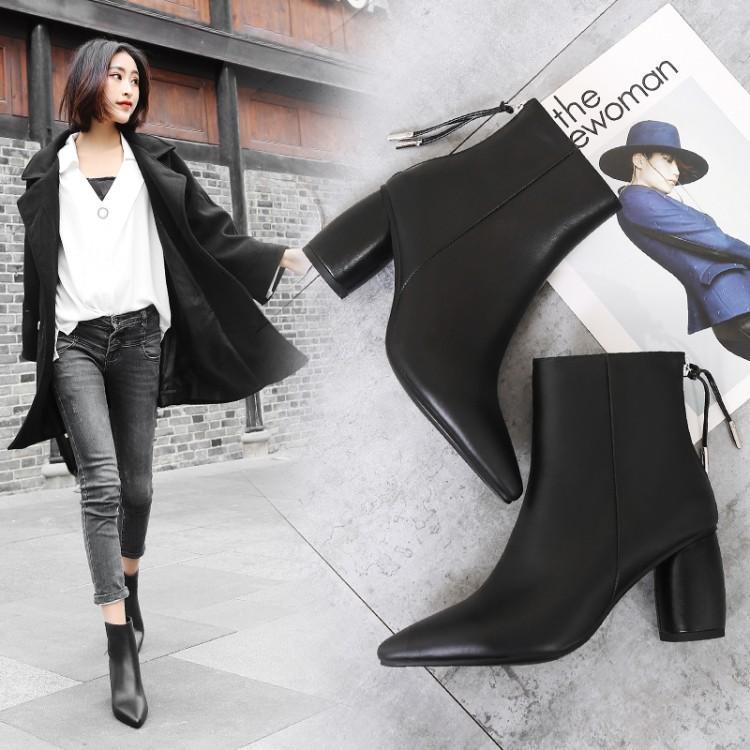 Bout as Talon Moyen Chaussures Chic Cuir Noir Blanc Retour Concis Pointu Ronde Femme Show En Show Couture Cheville Dame 2018 Zip As Femmes Botas Bottes q8gUwqAH
