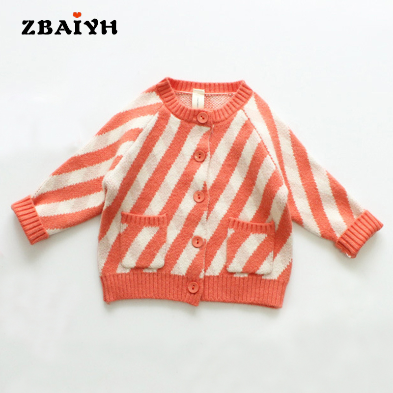 Kids sweater Winter Cardigan Baby Girl clothes Knitted cardigan 2017 Fashion Orange Stripe Jumpers Outerwear Children Clothing inc new black women s size small illusion stripe shimmer cardigan sweater $69