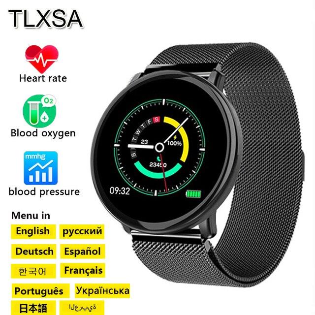 M31 Akıllı Erkekler nabız monitörü Izle spor fitness takip chazı Bilezik Tam Ekran Dokunmatik Çok Dilli Android IOS Için Smartwatch