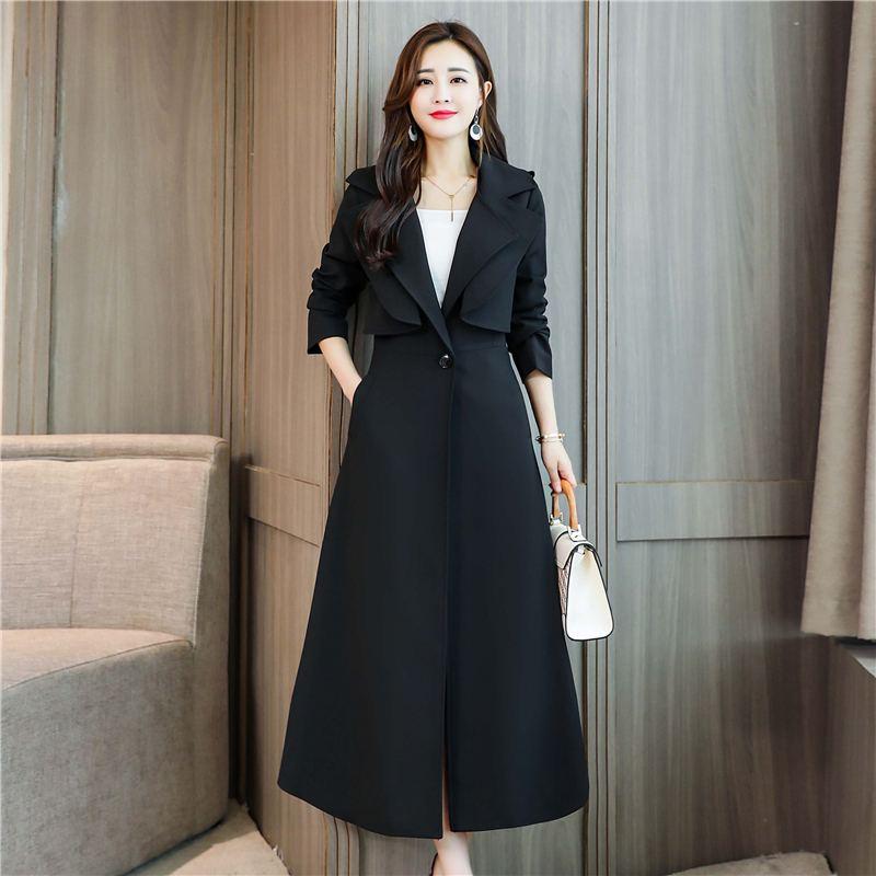 Mode Plus Taille Simple Style Longue Base Femelle Bouton Mince 2018 Outwear Tranchée La Femmes Automne Noir Unique O697 De Hiver kaki Ol Élégant Manteau OIEwwqU
