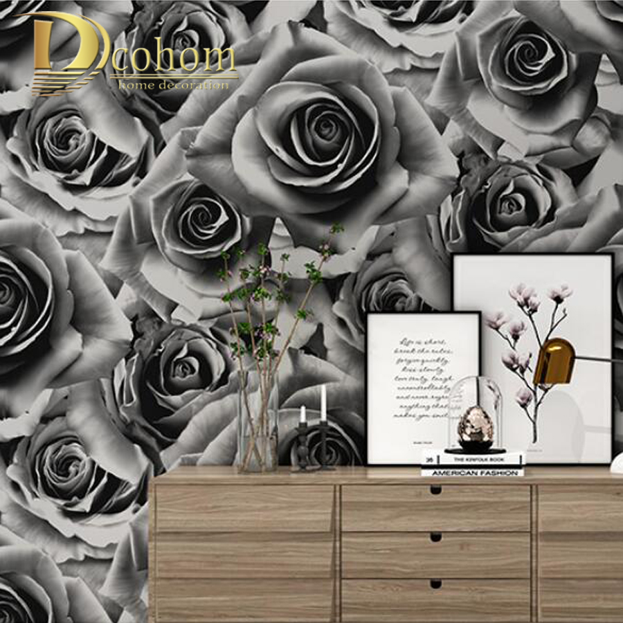 Natural Romantic Southeast Asia Style Wallcoverings Black Red Rose